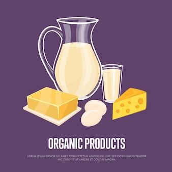 Bio-produkte-vorlage mit milchzusammensetzung