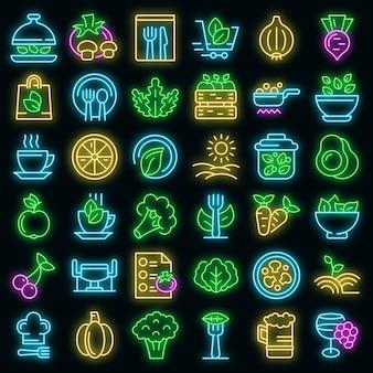 Bio-restaurantikonen eingestellt. umrisse von bio-restaurant-vektorsymbolen neonfarbe auf schwarz