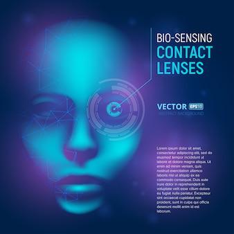 Bio-sensing-kontaktlinsen in realistischem cyber-mind-gesicht mit polygonalen formen. virtuelle künstliche intelligenz.