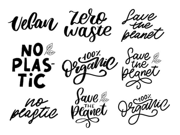 Bio-set pinselschrift. handgezeichnetes wort organisch mit grünen blättern. label, logo-vorlage für bio-produkte, gesunde lebensmittelmärkte.