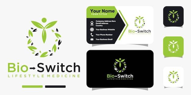Bio switch-blattnaturlogo und visitenkarten-design-vektorvorlage