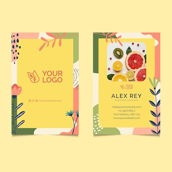 Bio und gesunde lebensmittel doppelseitige visitenkarte