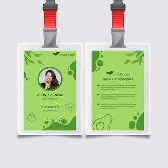 Bio und gesunde lebensmittel id-karte vorlage