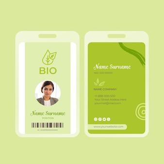 Bio und gesunde lebensmittel id-karte