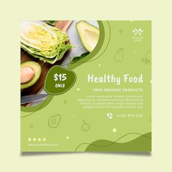 Bio und gesunde lebensmittel quadratische flyer-vorlage