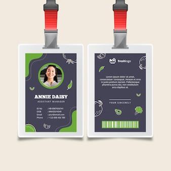 Bio- und gesunde lebensmittelausweis mit foto