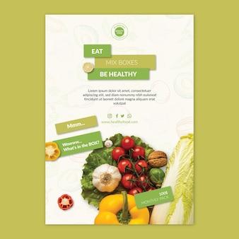 Bio- und gesunde lebensmittelplakatschablone mit foto