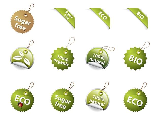Bio- und öko-icons / etiketten