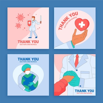 Bio-wohnung danke ärzte und krankenschwestern postkarten-set