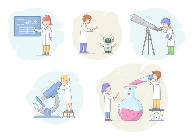 Biochemie und wissenschaftskonzept. wissenschaftler forschen im labor mit professioneller ausrüstung. mann, der roboter codiert und ihn an lebensstandards anpasst. karikatur-lineare umriss-flache vektor-illustration.