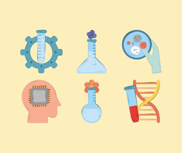 Bioengineering icons set