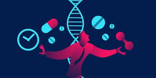 Biohacking-konzept in rotem und blauem neonfarbverlauf