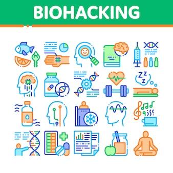 Biohacking-sammlungs-element-ikonen eingestellt