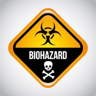 Biohazard-design über graue hintergrundvektorillustration