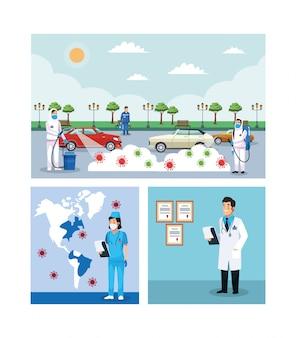 Biohazard reinigung personen mit covid19 partikeln auf der stadt