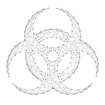 Biohazard-zeichen von abstrakten futuristischen polygonalen schwarzen linien und punkten.