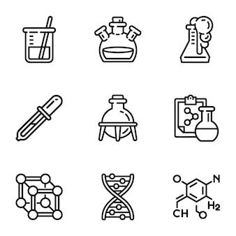 Biologie wissenschaft icon set. umreißsatz von 9 biologiewissenschaftsikonen