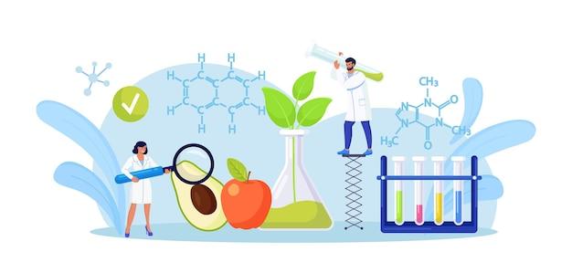 Biologiewissenschaftler forschen an obst und gemüse. menschen, die pflanzen im labor anbauen. studie zu lebensmittelzusatzstoffen. gentechnik. gentechnisch veränderte lebensmittel, gentechnik