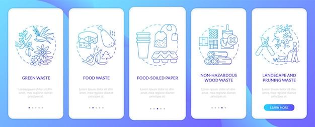 Biologisch abbaubare abfallarten auf dem bildschirm der mobilen app-seite mit konzepten. walkthrough-schritte für lebensmittel und schnittabfälle. ui-vorlage