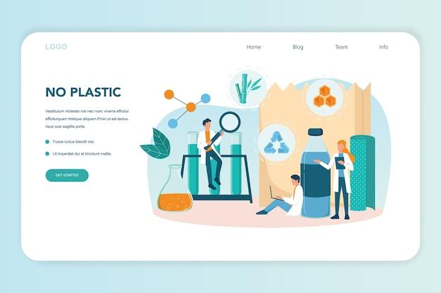Biologisch abbaubare kunststoff-erfindungs- und entwicklungswebseite. wissenschaftler stellen recycelbare und naturfreundliche verpackungen her. biokunststoff- und null-abfall-ökologie-konzept. vektorillustration
