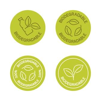 Biologisch abbaubare symbole symbol der plastikflasche mit grünen blättern wendet sich an das pflanzenkonzept