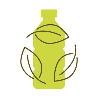 Biologisch abbaubarer kunststoff, sign. symbol der plastikflasche mit grünen blättern. wendet sich dem anlagenkonzept zu. umweltfreundliche kompostierbare materialproduktion. zero waste, naturschutzkonzept. vektor