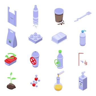 Biologisch abbaubares kunststoffset. isometrischer satz von biologisch abbaubarem kunststoff für webdesign lokalisiert auf weißem hintergrund