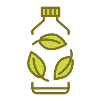 Biologisch abbaubares plastikschild bioplastikflasche mit grünen blättern wendet sich dem pflanzenkonzept zu