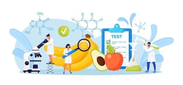 Biologische wissenschaftler erforschen lebensmittel. winzige chemiker testen produkt, um mehr über sicherheit und chemische struktur zu erfahren. biologen züchten pflanzen im labor, kultivieren genetisch verändertes gemüse, obst
