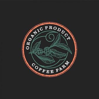 Biologisches kaffee-bauernhofprodukt - weinlesedesign