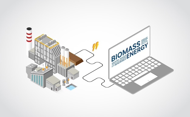 Biomasseenergie, biomassekraftwerk mit isometrischer grafik