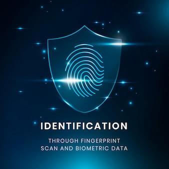 Biometrie-identifikationstechnologie-vorlagenvektor mit fingerabdruckscanner