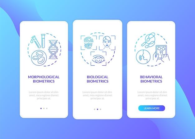 Biometrie-typen, die den bildschirm der mobilen app-seite mit konzepten integrieren
