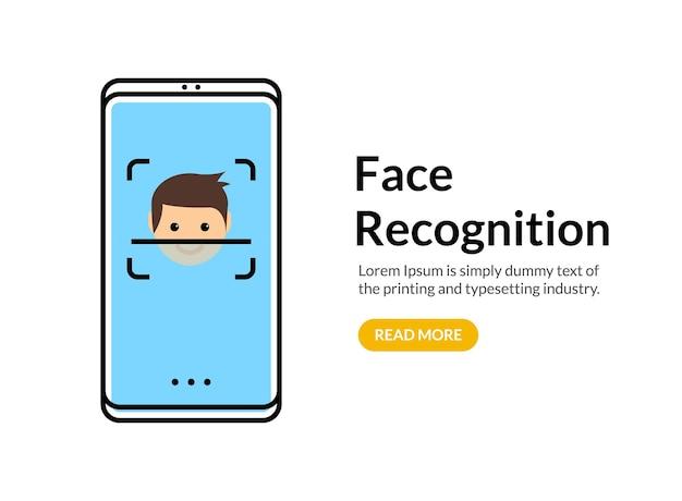 Biometrische gesichtserkennung auf dem smartphone. sicherheitssystemtechnologie für gesichtsscans. gesichtserkennungsidentifikation.