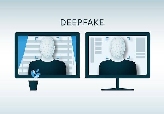 Biometrische identifizierung des gesichts einer person mittels ki und überlagerung eines anderen mittels deepfake