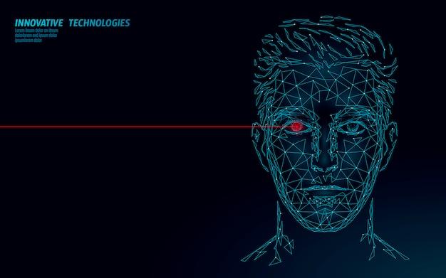 Biometrische identifizierung des menschlichen gesichts mit niedrigem polycharakter. erkennungssystemkonzept. persönliche daten sicherer zugang zum scannen innovationstechnologie. polygonale 3d-rendering-illustration