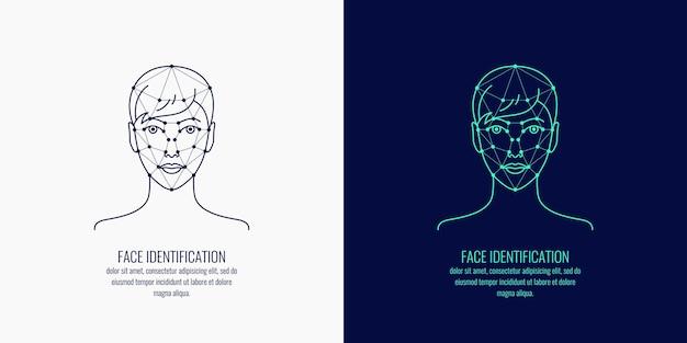 Biometrische identifizierung einer person. vektorgrafiken eines mädchenkopfes.
