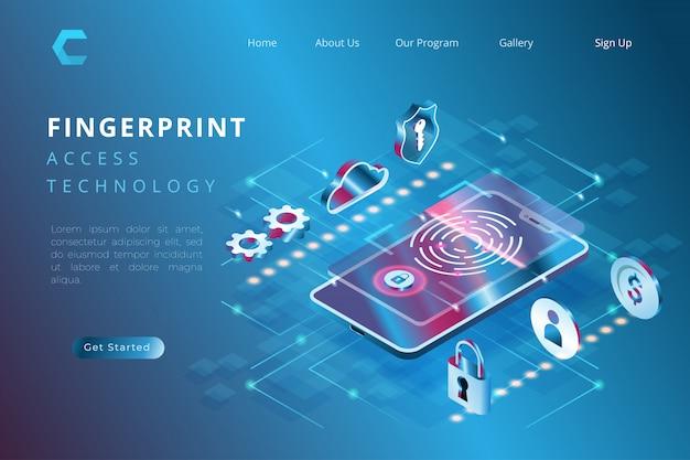 Biometrische illustration des schutzes für überprüfung, illustration der technologie unter verwendung der fingerabdrücke in der isometrischen art der illustration 3d