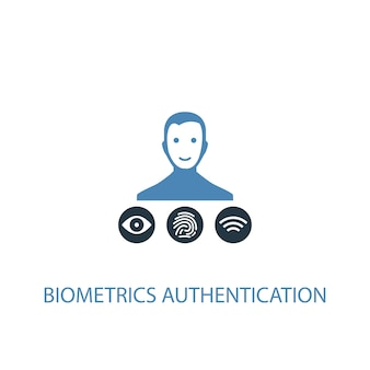 Biometrisches authentifizierungskonzept 2 farbiges symbol. einfache blaue elementillustration. symboldesign für das biometrische authentifizierungskonzept. kann für web- und mobile ui/ux verwendet werden