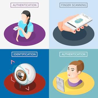 Biometrisches konzept des entwurfes identifikation 2x2