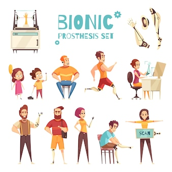 Bionic prothesis cartoon icons set