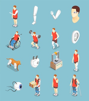 Bionics technology isometric icons