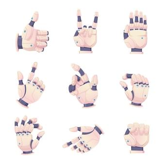 Bionische menschliche hände. robotergesten, die dem prothesenvektorsatz helfen. illustration bionischer cyborg-gestenarm, menschliche handtechnologie-prothetik