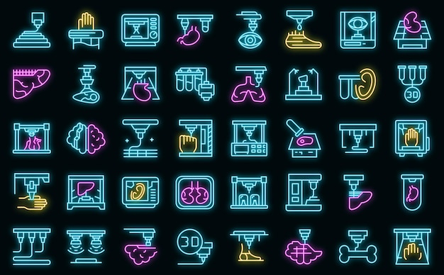 Bioprinting icons set vektor neon