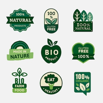 Bioprodukte-abzeichen setzen vektor für lebensmittelmarketing-kampagnen