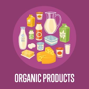 Bioproduktillustration mit molkereizusammensetzung