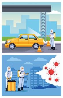 Biosicherheitsarbeiter desinfizieren das taxi