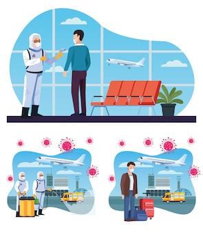 Biosicherheitsarbeiter desinfizieren den flughafen und überprüfen die temperatur auf