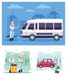 Biosicherheitsarbeiter desinfizieren van und auto