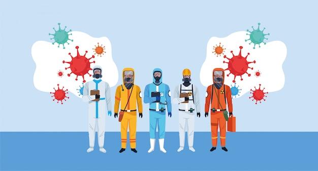 Biosicherheitsarbeiter mit biohazard-anzügen und covid19-partikeln
